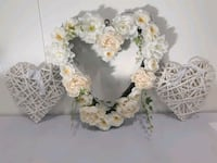 Blush/White Heart Wreath and 2 Wooden Hearts Brantford, N3S 6H5