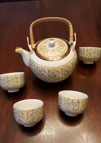 Chinese Tea Pot w/4 cups Flower Mound, 75028