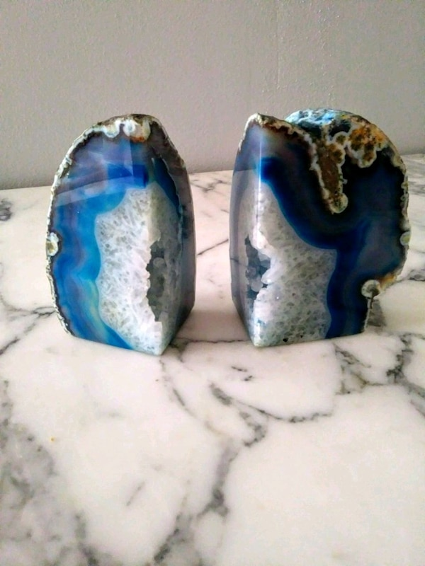 Blue Agate Heavy Stone Bookends Or Decor