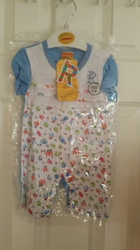 white, blue, and red printed footie Oakville, L6H 6S5