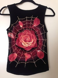 Sleeveless Black Top - Spiderweb Rose - Women's Small