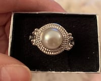 FRESH WATER PEARL SILVER, HANDMADE JEWELRY ROPE TWISTED KNOT RING, SZ 9 Sparks, 89441