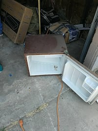 brown compact refrigerator