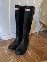 Hunter Size US womens 8/UK 6 black original tall rubber boots wellys