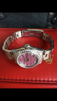 Rolex lady's date-just 6917 steel 26mm pink MOP diamond dial, bezel, and lugs.  Huntington Park, 90255