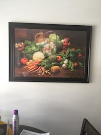 Multicolored vegetable still-life painting with black frame.ideal for dinning Area Mississauga, L5W 0E8