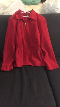 red zip-up jacket size 14