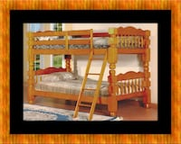 Wooden twin bunk bed frame with 2 mattress East Riverdale
