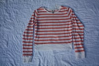 Arizona Jean Co. white and pink striped sweater