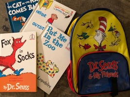 BRAND-NEW/NEVER USED:  Dr. Seuss backpack with four books