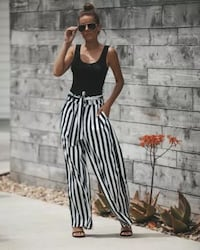 Size M Women Stripe Trousers Palazzo Loose Wide Leg High Waisted Pants