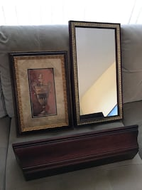 Mirror, Picture, and Wall shelf set