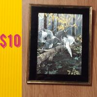 black and white horses painting with brown wooden frame BARBOURSVILLE