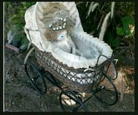Vintage Wicker and Lace Doll Buggy Norco, 92860