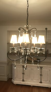 white and black 5-light uplight chandelier 333 mi