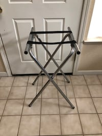 """Folding Metal Luggage Rack Suitcase Stand 31"""" Tall"""