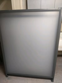 Frosted rolling panels and heavy duty desk components