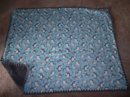New fleece blanket with baby sharks with crocheted edge approx 4'x5'