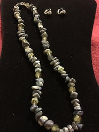 brown and gray stone bead necklace