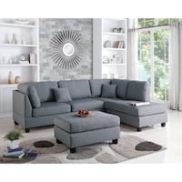 3 PCS REVERSIBLE SECTIONAL WITH FREE OTTOMAN