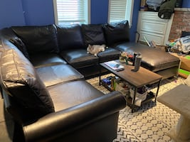 Sectional couch with chaise faux leather