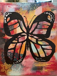 Modern Butterfly Acrylic Abstract Painting, Monarch Butterfly NEW Phoenix, 85013