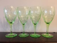 Set of 4 green depression wine glasses Toronto, M5C