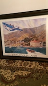 Black wooden frame Catalina island painting