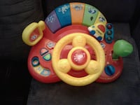 baby's yellow and red activity table
