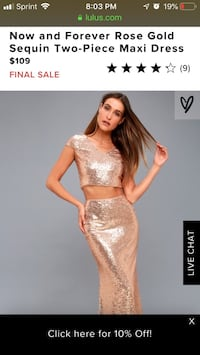 Rose Gold Sequin 2 Piece Maxi Dress (Small)