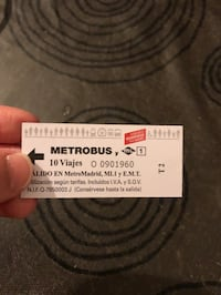 Billetes metrobus Madrid, 28014