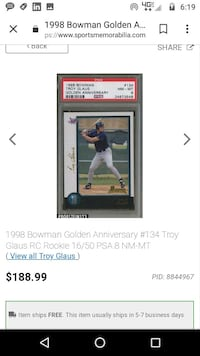 Troy glaus graded rookie Tullahoma, 37388