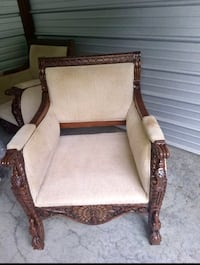 Brown wooden framed white padded armchair Sterling Heights, 48311