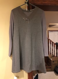 BRAND NEW Gray Long Sleeve Dress with Sheer Sleeve, NEVER WORN Grimsby