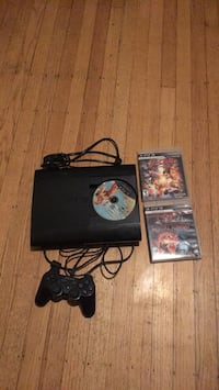 Black sony ps3 super slim console with controller and games Oakland, 94601