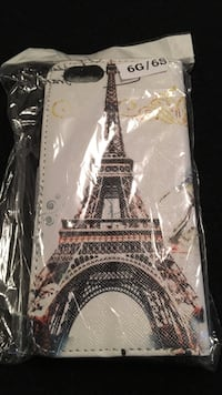 Eiffel tower print white leather iphone case with clear plastic pack