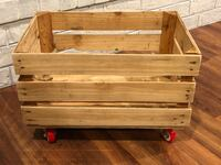 "Wooden crate on swivel rollers;  great for storage; 13"" Wide, 19"" long, 13"" tall;  I have six of them. Savannah, 31419"