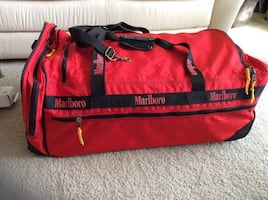 90-s VINTAGE MARLBORO RED EXTRA LARGE ROLLING LUGGAGE DUFFLE BAG