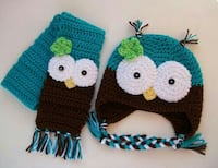 teal and brown owl critter cap and scarf Anaheim, 92801