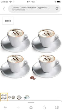 White Porcelain Cappuccino cup and Saucer Set of 4  Toronto, M9B