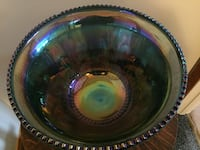 Blue carnival glass punch bowl with matching glasses Sherwood Park, T8A 1N9