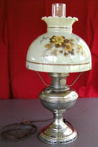 Vintage Model 11 Aladdin Converted Oil Lamp w/Shade & Chimney 1920s Chelmsford, 01824