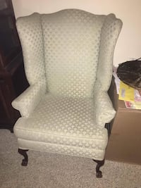 Gray scale print wing chair