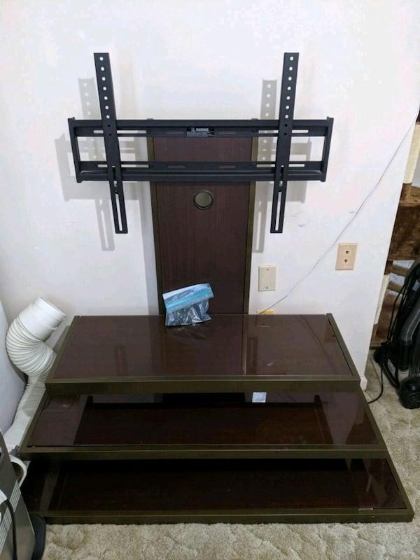 Metal TV Stand with Glass Shelves e7ece1a5-2e73-42f1-8525-9f53e896ce6b