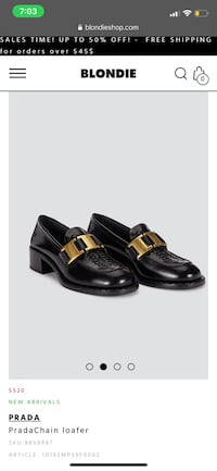PRADA Buckle Moccasin Shoes In Black $970 size 40