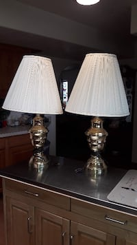 Two Brass lamps with shades.