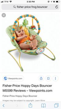 Baby's green and white bouncer great condition  Salem, 36874