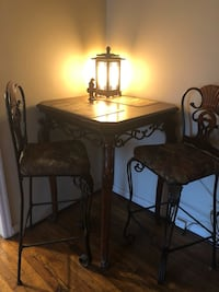 Rectangular brown wooden table with two chairs dining set Bessemer, 35022