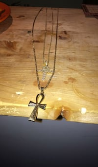 silver-colored cross pendant necklace Mississauga, L4V