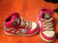white-pink-blue DC high-top sneakers